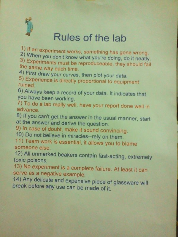 College Laboratory Rules Labs Chemistry And Humor