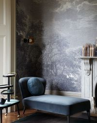 Modern Living Room with Blue Velvet Chaise and Pictorial