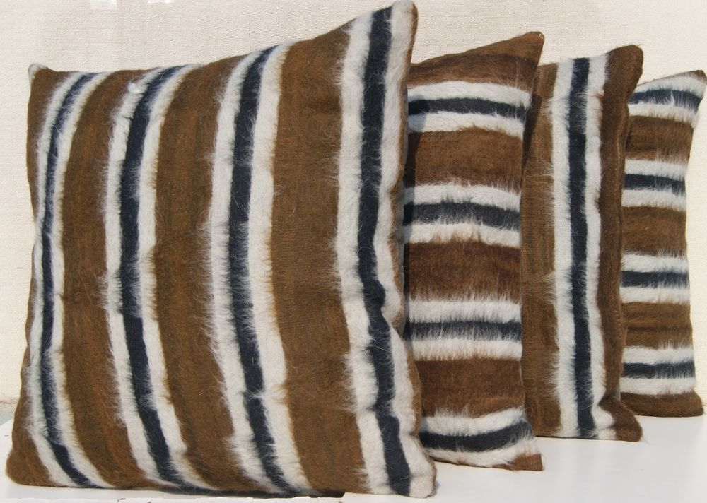 """24"""" COUCH PILLOWS 4 WOOL TURKISH SQUARE SET316 STRIPED BROWN AREA"""