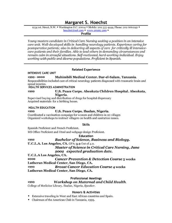 Resume Examples For Electronics Engineering Students