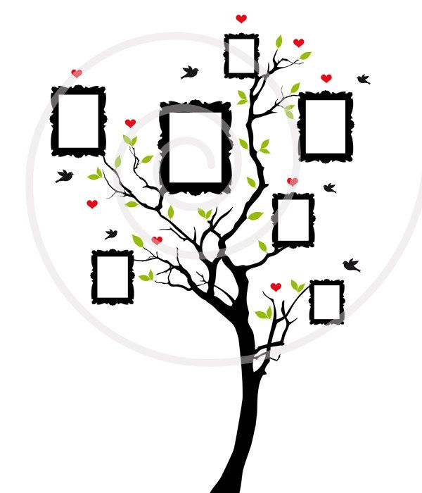 Family tree, digital clip art with blank vintage picture
