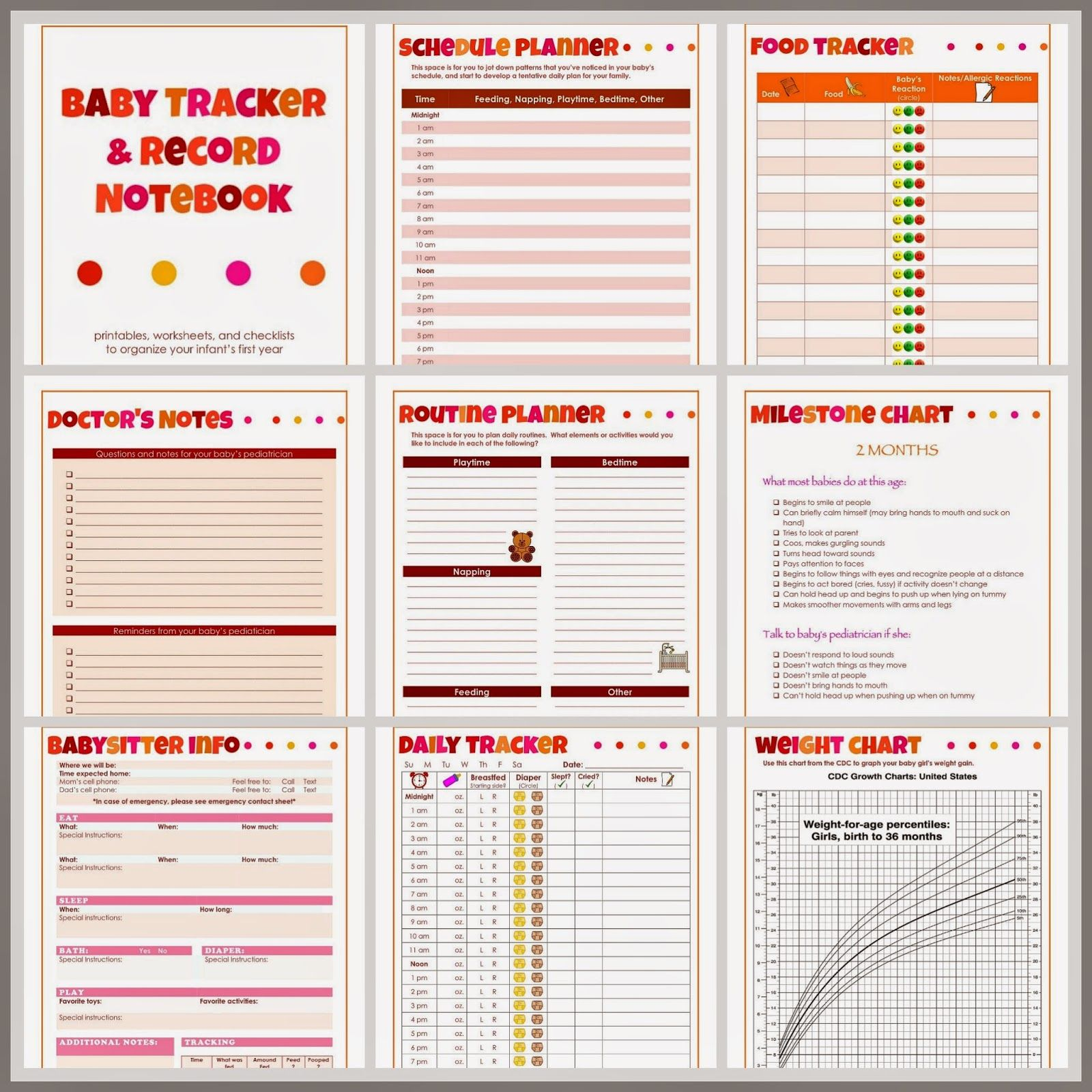Baby Tracker And Record Notebook For Girls Printables