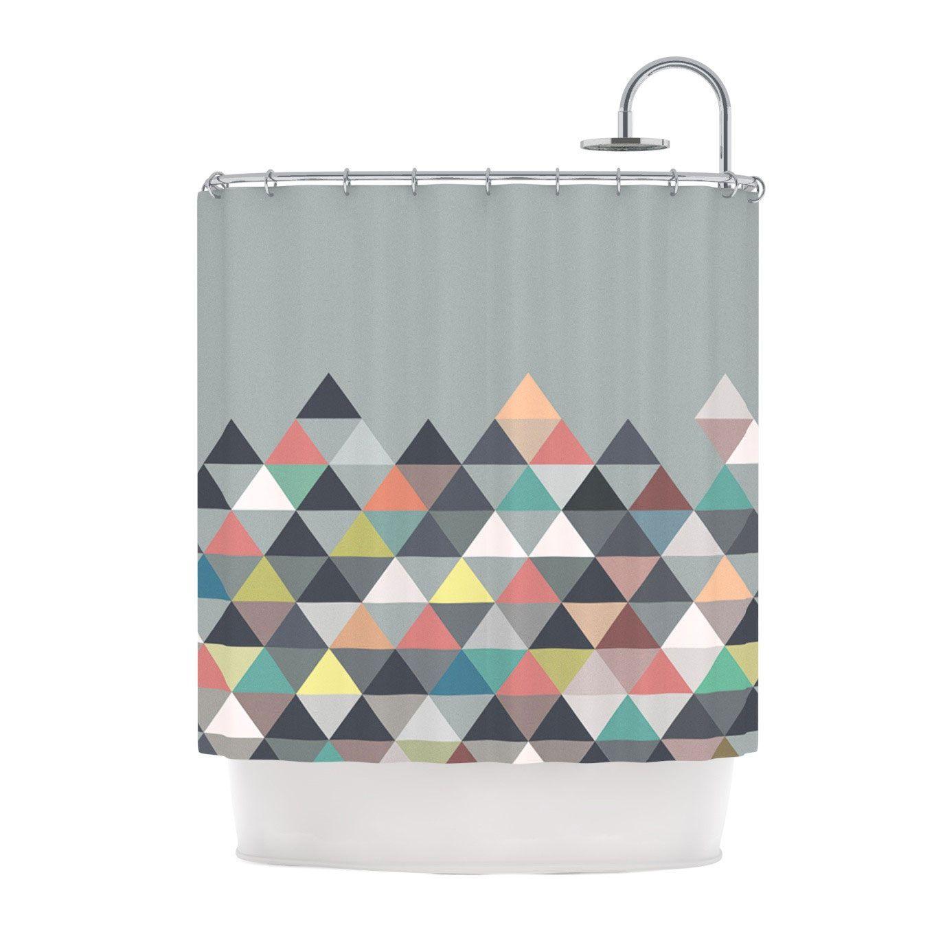 geometric mountain shower curtain dotandbo com show to ziz