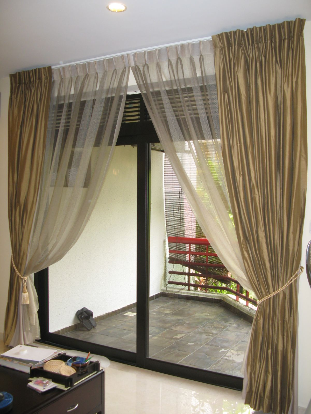 Excellent Brown And Transparent White Sliding Glass Door Curtain With Outdoor Views For