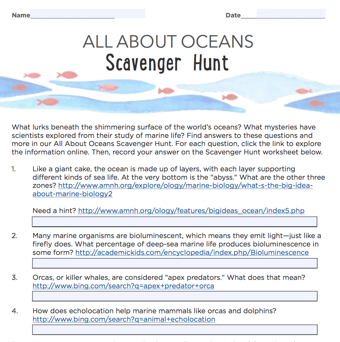 Online Activity All About Oceans Scavenger Hunt