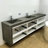 Polished Concrete 'his and hers' vanity top with double ...
