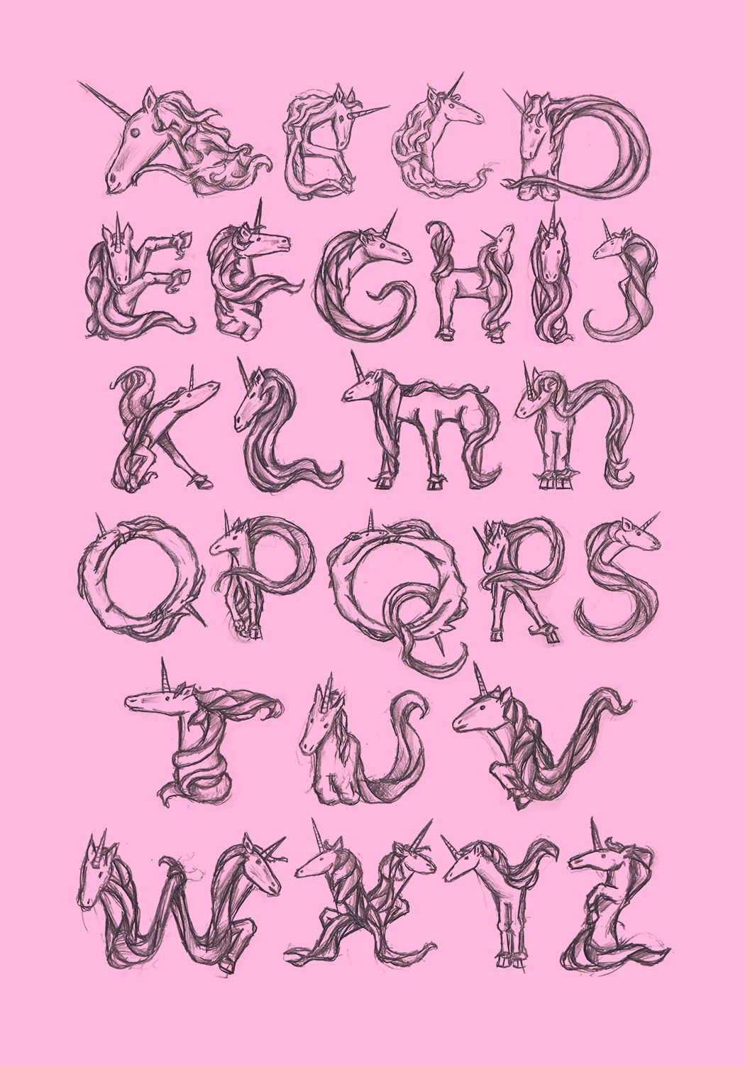 Unicorn Letters And Font
