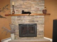 Decorating: Corner Napoleon Fireplace With Mantel Shelf
