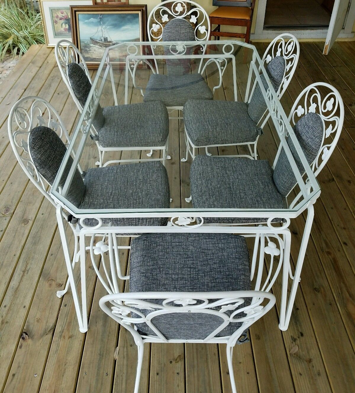 white wrought iron kitchen chairs paint fabric chair vintage salterini table and set