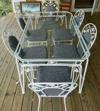 Vintage Salterini White Wrought Iron Table and Chair Set ...