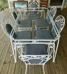 Vintage Salterini White Wrought Iron Table And Chair Set