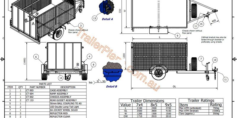 www.trailerplans.com.au Build your own CAGE TRAILER