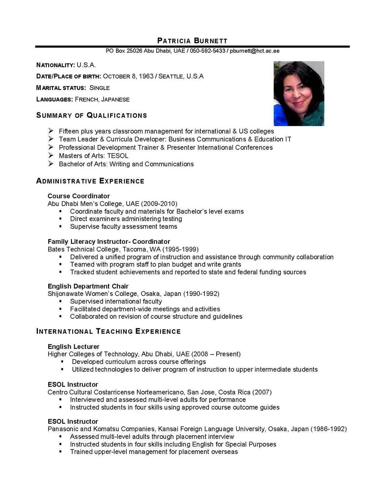 Resume Format For Overseas Job International Business International Business Graduate Cv