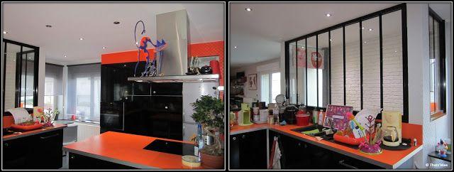 cuisine ikea meubles noirs plan de travail orange verrire armature noire  Maison  Pinterest