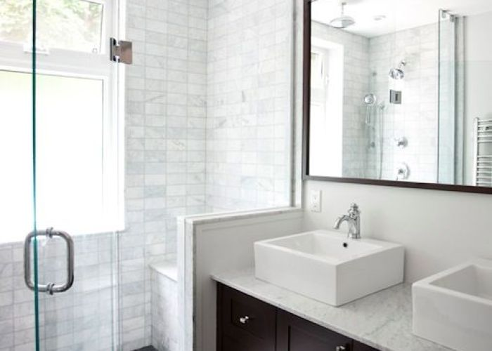 Prefer  dark bathroom vanity with white or light tile especially love these marble subway tiles classic and traditional twist also gorgeous espresso colored floating cabinet ideas