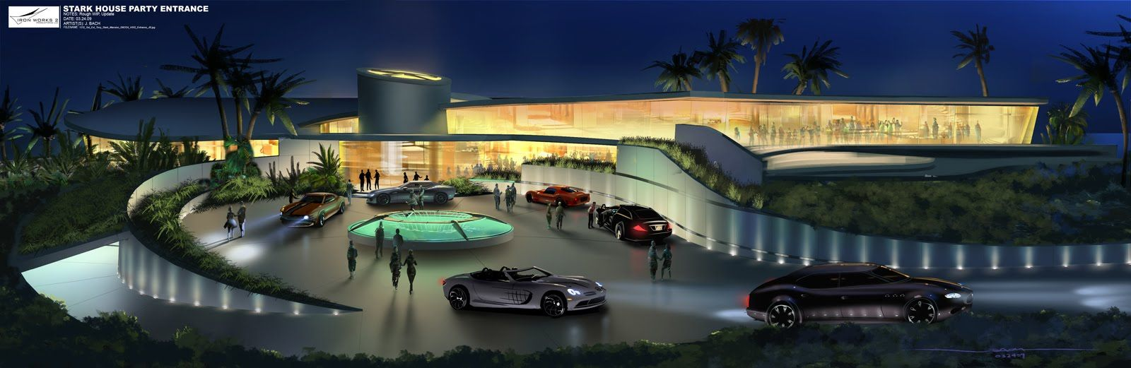 Iron Man 2 Concept Art Celebration House Front Mansion And Front Doors