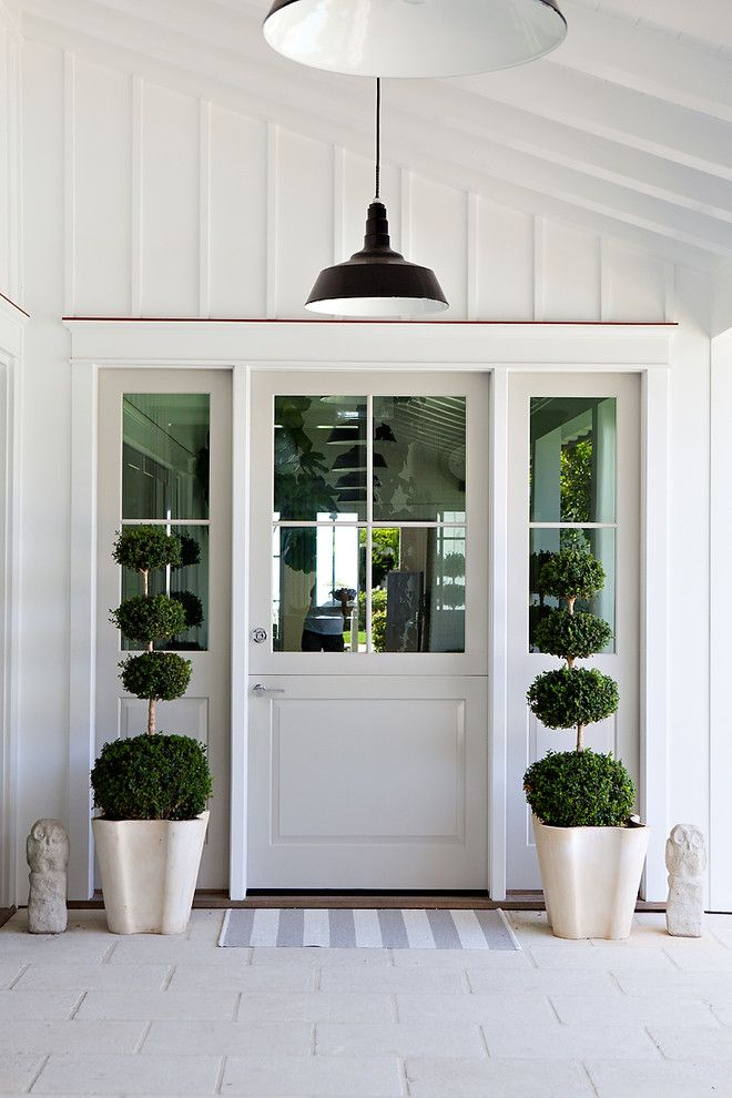 Board And Batten Door Design Entry Beach Style With Topiary