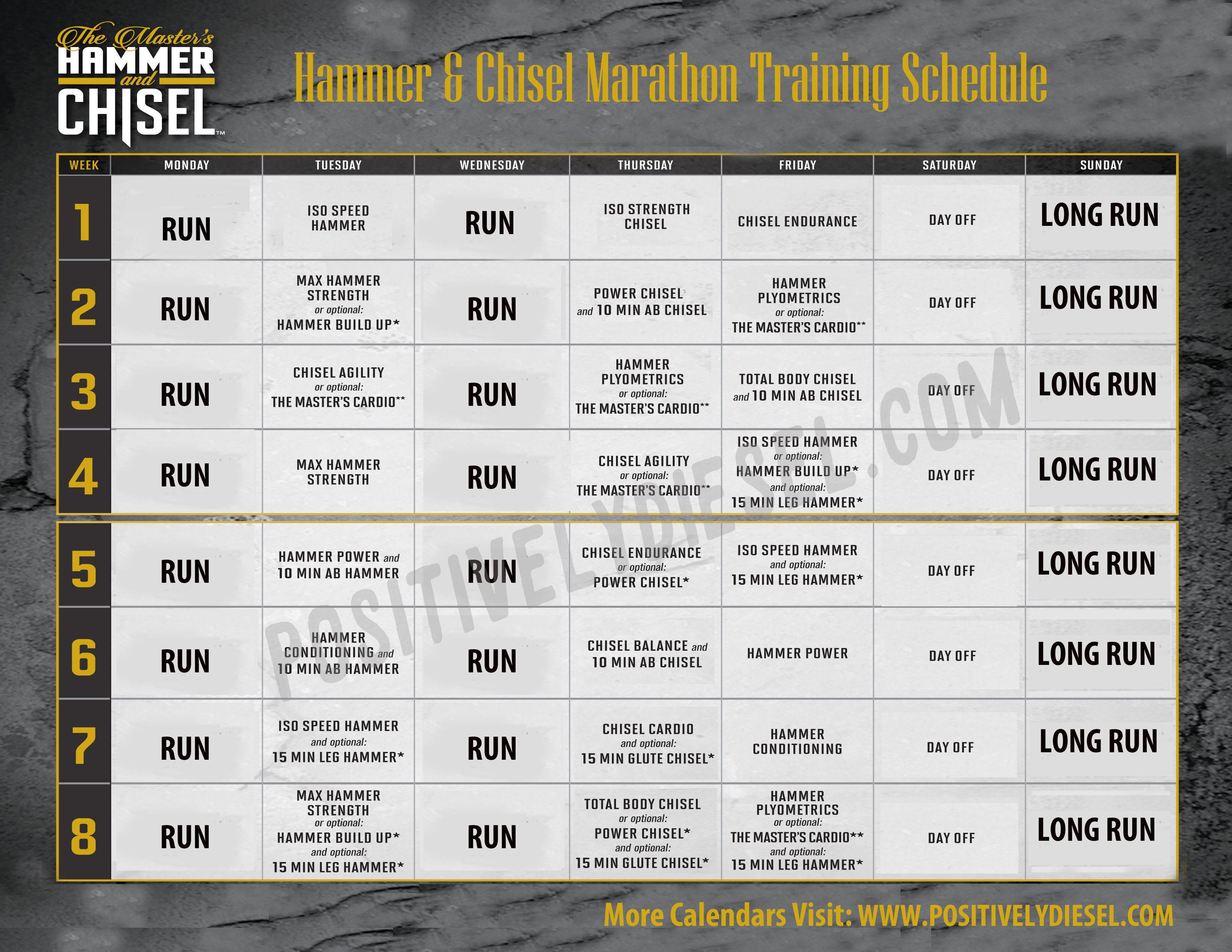 Hammer Amp Chisel Running Marathon Training Schedule