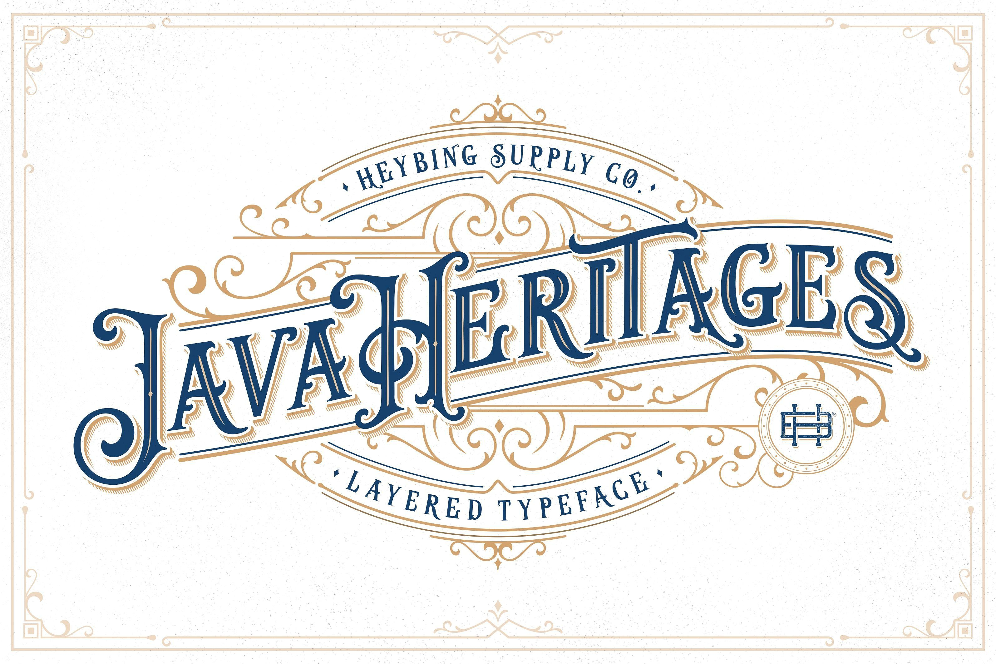 Handmade Vintage Typeface Java Heritages Extras Font