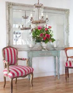Gorgeous french style oversized mirror with low hung chandelier and  pop of pink images we like not products chichi also  the feel this upholstery pinterest queen anne rh