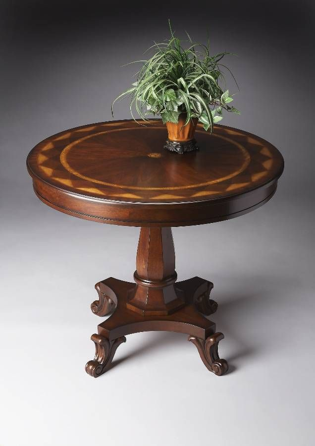 Elegant Hand Crafted Round Foyer Table in Plantation Cherry Finish  Home  Pinterest  Round