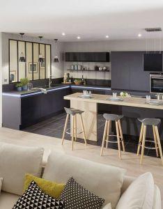 Ilot de cuisine et espace repas en kitchen designskitchen also salons kitchens and rh pinterest
