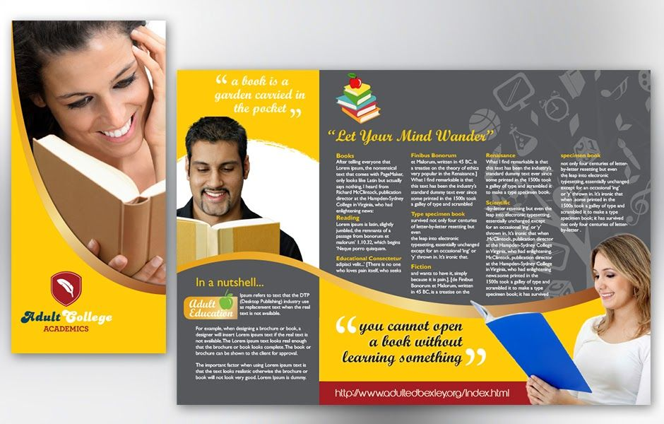 Free Education Brochure Template Ideal Vistalist Co