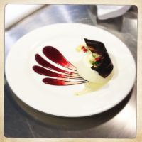 Bavarois a la framboise & Panna Cotta  plated dessert ...