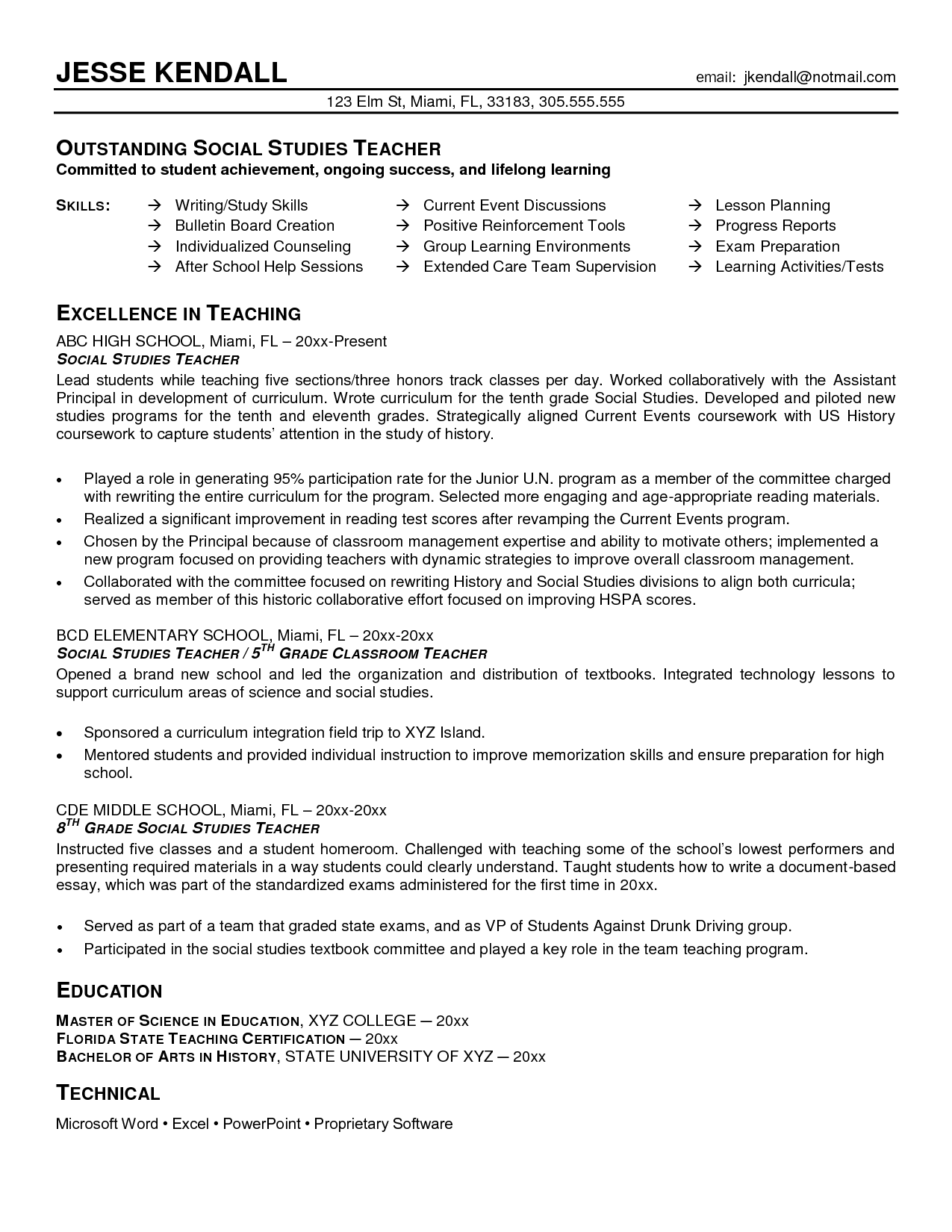 Teacher Resume Examples History Teacher Sample Resume Google Search Work