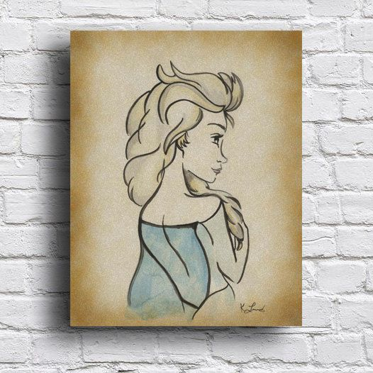 Elsa illustration wall art kids room decor princess instand download also rh pinterest
