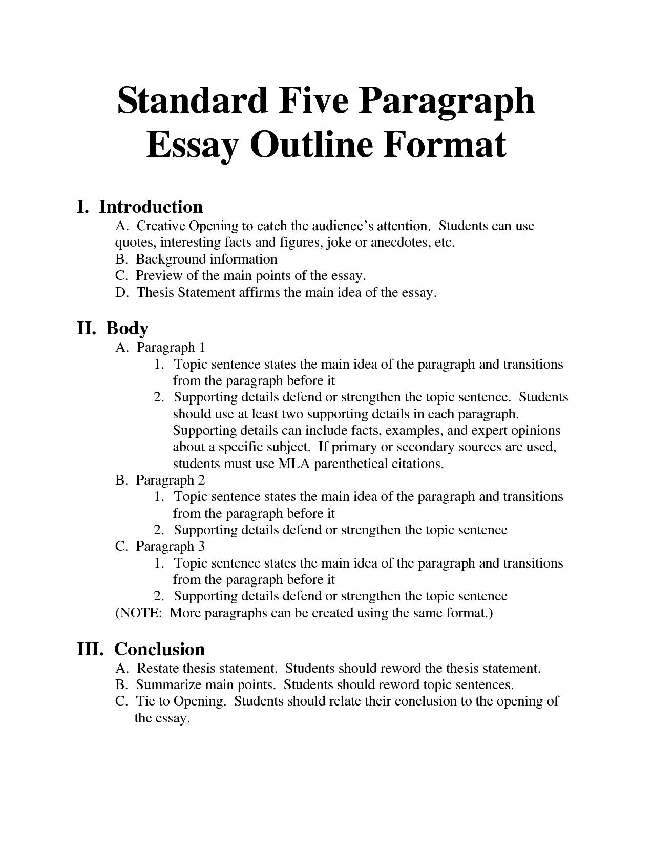 Standard Essay Outline Standard Essay Format Bing Images Essays
