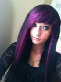 purple hair color ideas for dark hair | emo purple hair ...