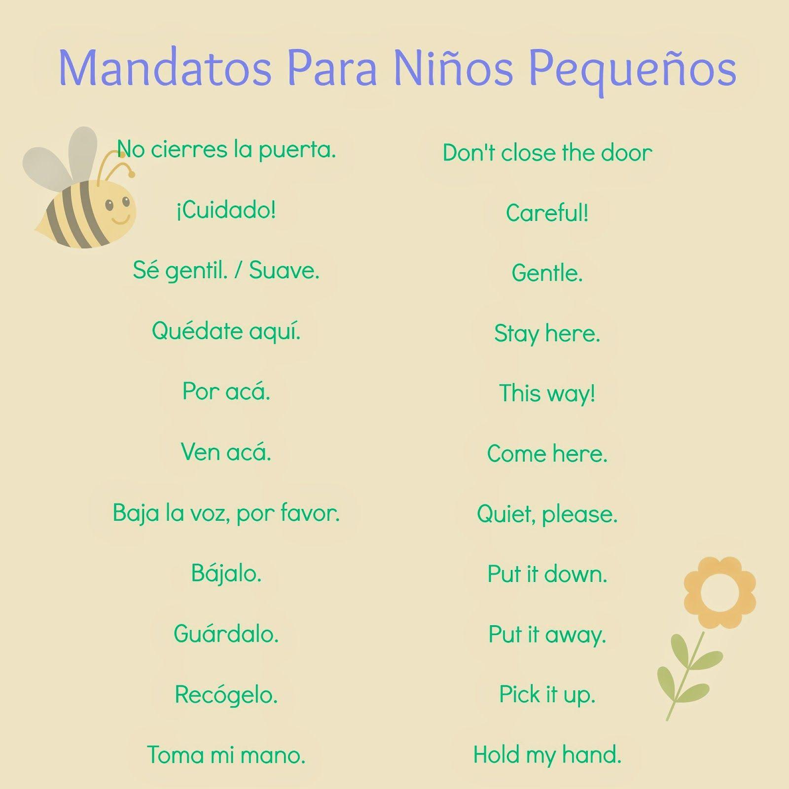 Mandatos Para Ninos Pequenos Commands In Spanish For