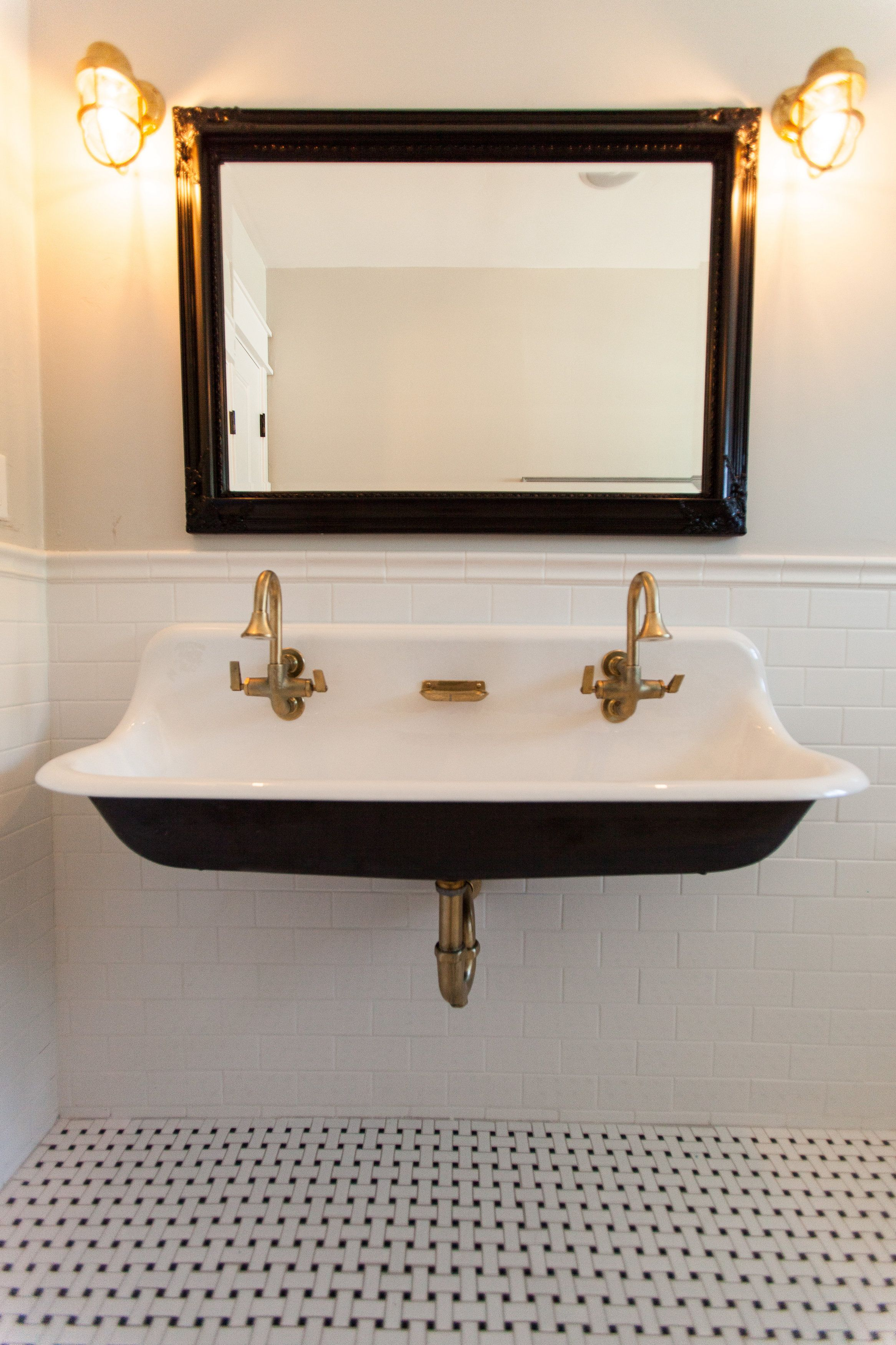 Cast Iron Bathroom Sink Cast Iron Trough Sink With Brass Hardware By Rafterhouse