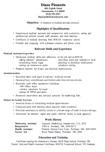 Medical assistant resume examples examples of resumes resume sample receptionist or medical assistant new job altavistaventures Choice Image
