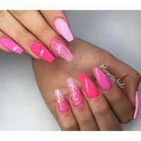 Shades of pink coffin nails glitter ombr summer nail art ...