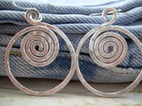 Hammered Aluminum Earrings Aluminum Wire Earrings Silver