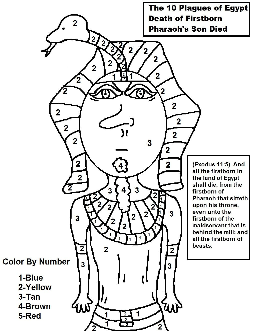 The 10 plagues of Egypt Death of Firstborn Color By Number