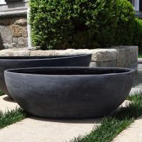 Small Smooth Oval Bowl Planter - Black w/ white | Spruce ...