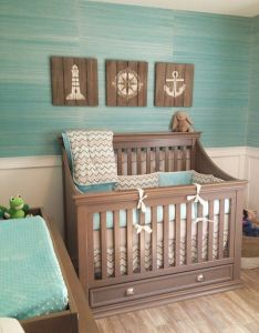 Great crib with storage beneath and gorgeous grasscloth wallpaper house of turquoise coastal nursery decornursery ideasthemed also best images about baby boy on pinterest surf babies clothes rh