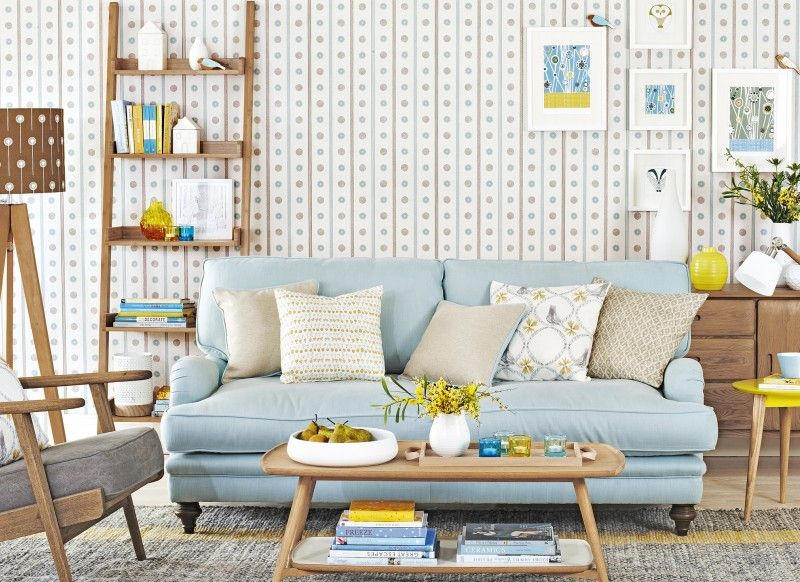 Scandi style living room with blue and yellow accents also decor home rh pinterest