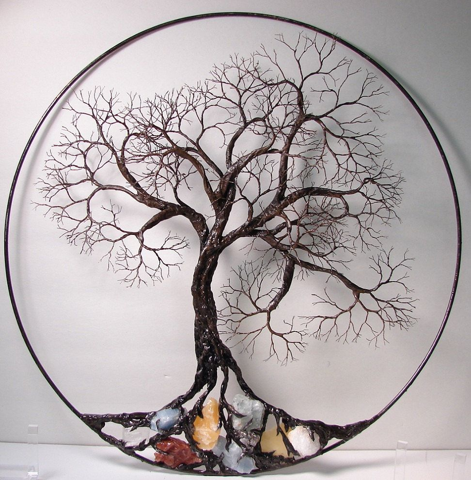 Wire Tree Of Life Ancient Spirit Sculpture With Natural Calcites