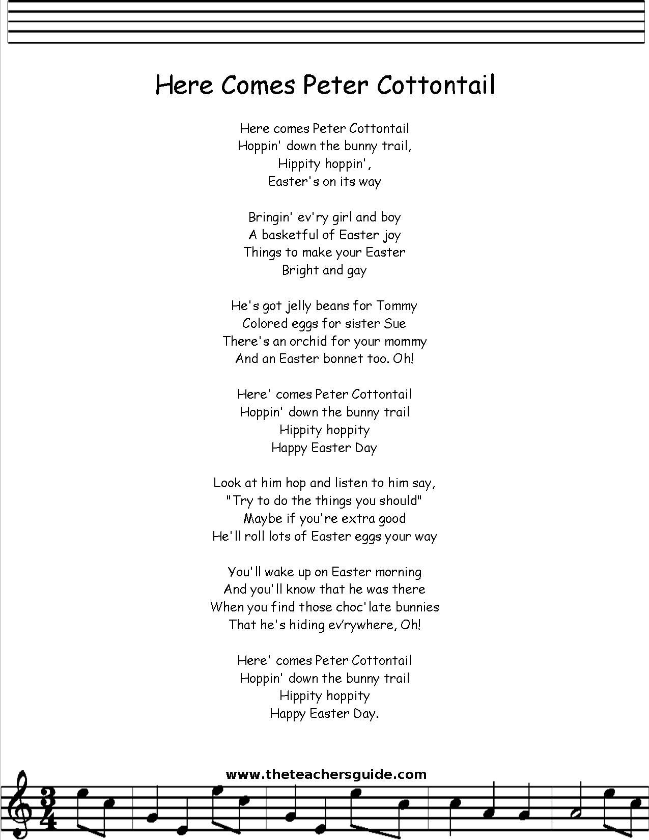 Peter Cottontail Lyrics Printout