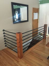 DIY banister. Floor flanges and black pipe. Support poles ...