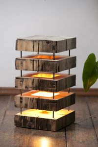 Mood lamps - made from very old cedar beams | Mood lamp ...