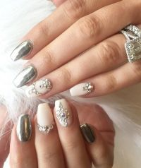50 Rhinestone Nail Art Ideas | Matte nails, Rhinestone ...