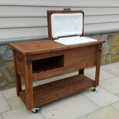Outdoor Kitchen Storage Cart Valance Curtains For Rustic Wooden Cooler Table Bar Wine With Mini