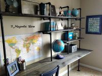 DIY Industrial Shelving & Desk {in a boy's room