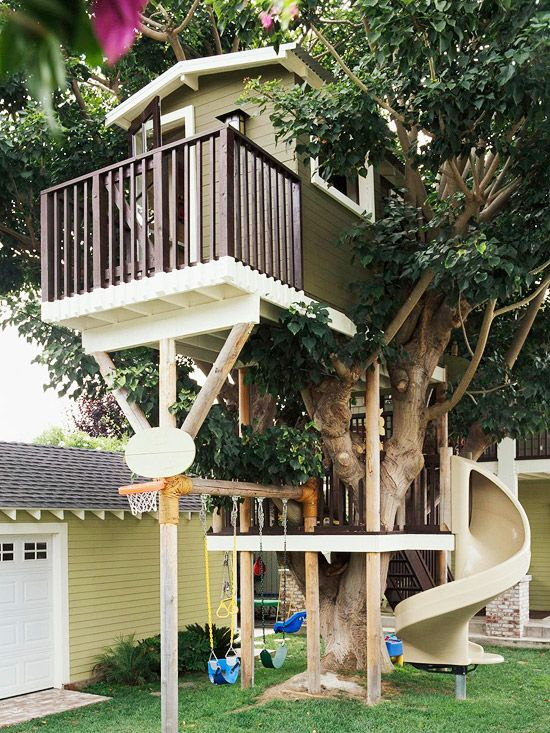 Playhouse Ideas Tree Houses Playhouses And House Slide