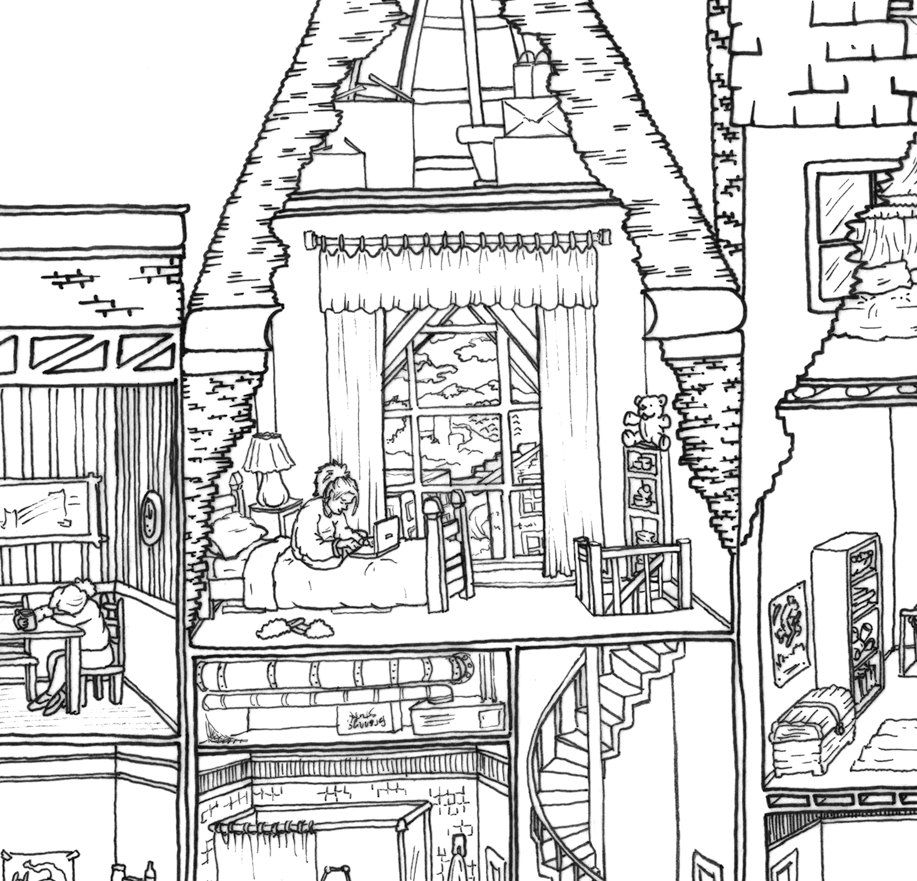 JUMBO Coloring Poster Apartment Building Cross by
